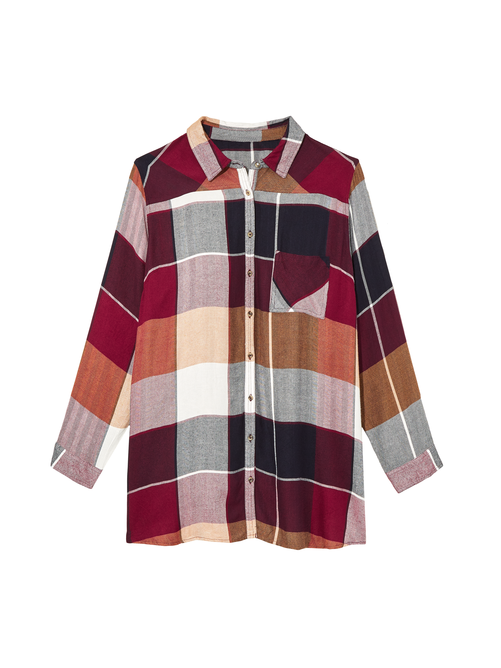 Valley Plaid Button Down Tunic