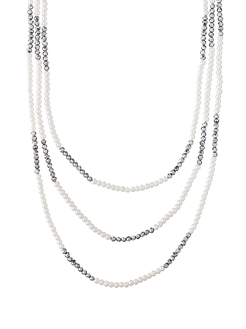 Davonna Layered Pearl Crystal Necklace