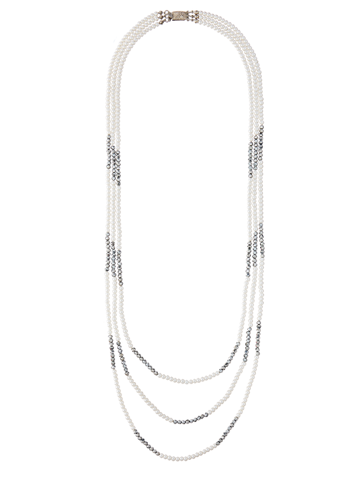 Davonna Layered Pearl Crystal Necklace 1