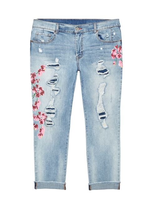 Douglass Distressed Jean with Floral & Embroidery Detail