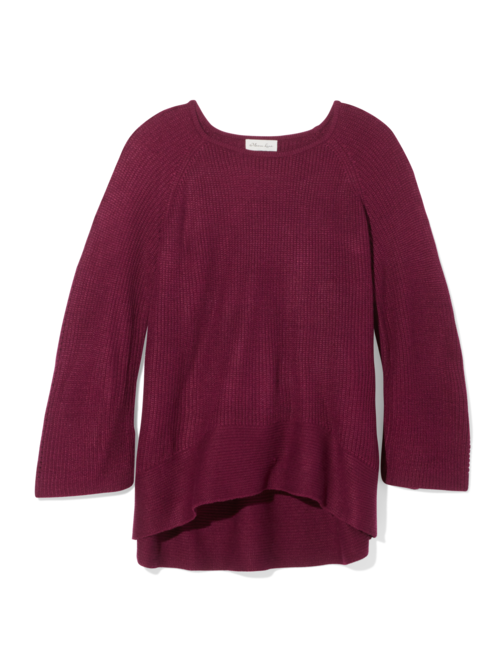 Paulette Hi-Lo Ribbed Sleeve Sweater 0