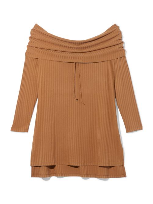 Zahra Off Shoulder Ribbed Sweater