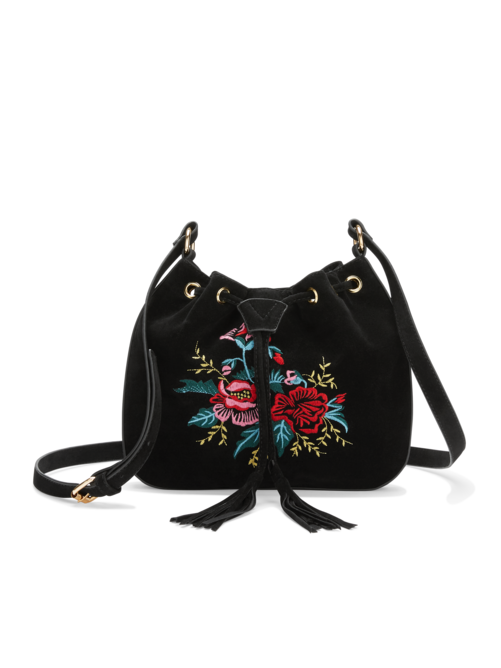 Tinah Embroidered Suede Bag