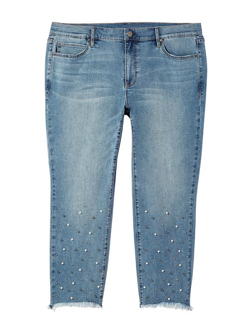 Essex Pearl Embellishment Straight Leg Jean with Fray Hem