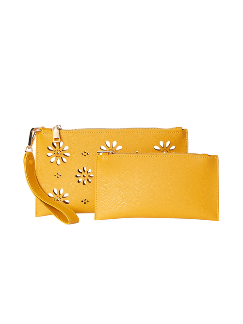 Sutton Laser Cut Vegan Leather Wristlet