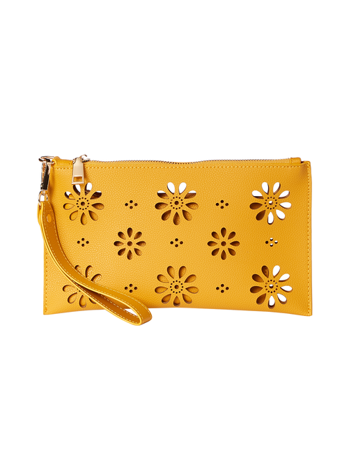 Sutton Laser Cut Vegan Leather Wristlet 2