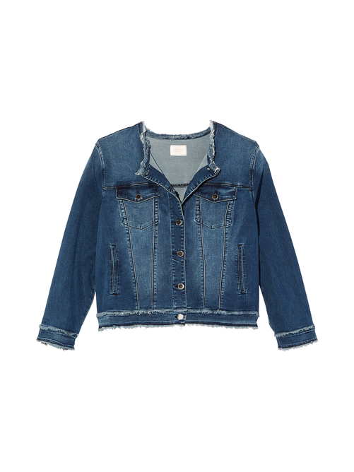 Adelaide Collarless Denim Jacket with Frayed Hem