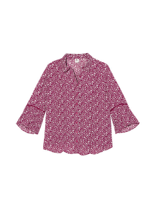 Brenda Button Down Blouse with Bell Sleeve 0