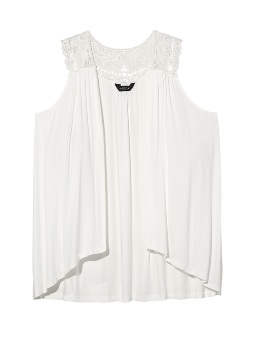 Mary Anne Sleeveless Cardigan with Lace Trim