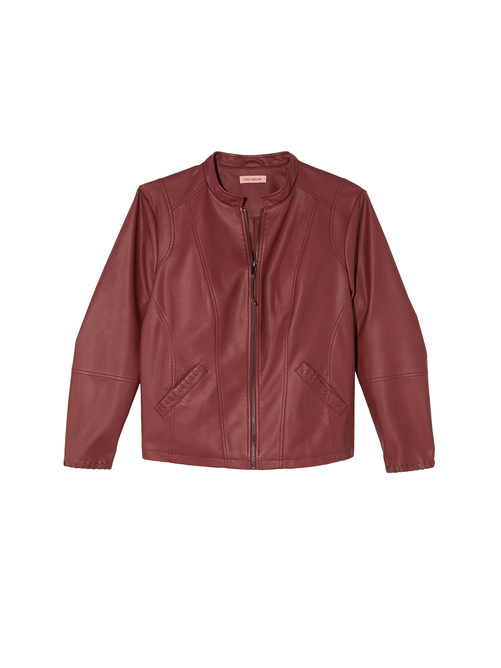Tiber Faux Leather Jacket with Whip Stitch