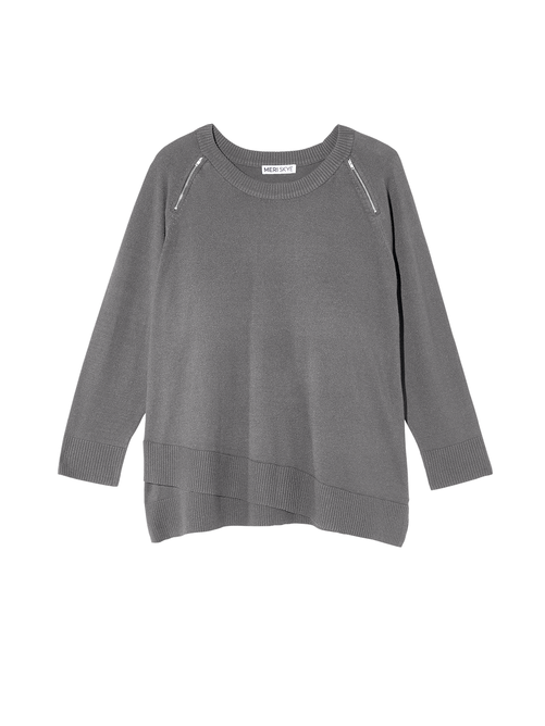Iclyn Criss Cross Hem Zipper Sweater