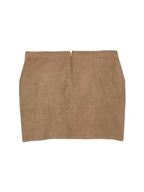 April Faux Suede Above Knee Skirt 1