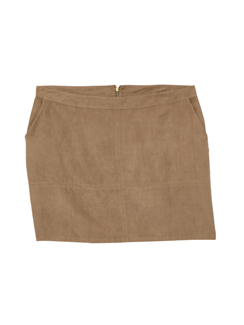 April Faux Suede Above Knee Skirt 2