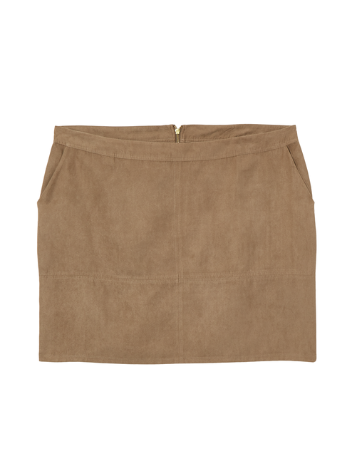 April Faux Suede Above Knee Skirt