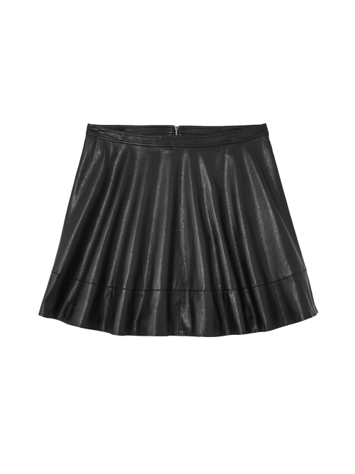 Meuse Faux Leather Flare Skirt 0