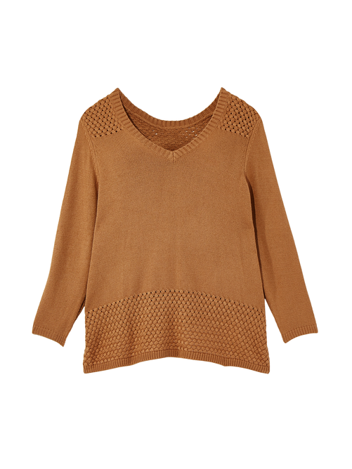2cbe21441424 Eira Basket Weave Sweater - Tan | Dia&Co