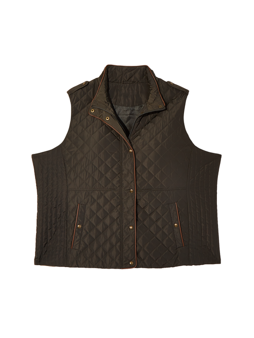 Winnipeg Quilted Vest with Faux Leather Accent